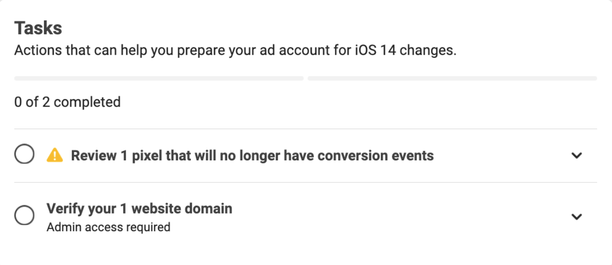 Warning pain in Facebook for Apple iOS 14 changes